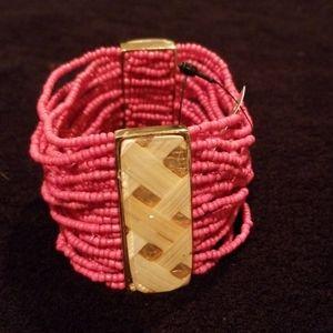 Chico's Coral Color Beaded Multi strand Bracelet